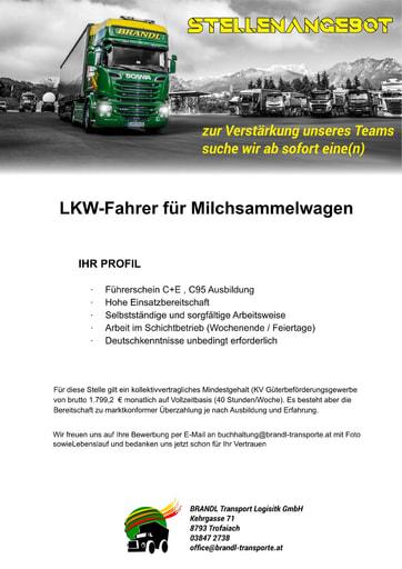 Stellenausschreibung LKW Fahrer Milchsammelwagen